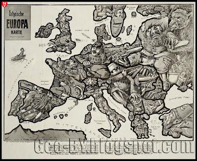 Satyrische Europa Karte Weltkrieg 1914