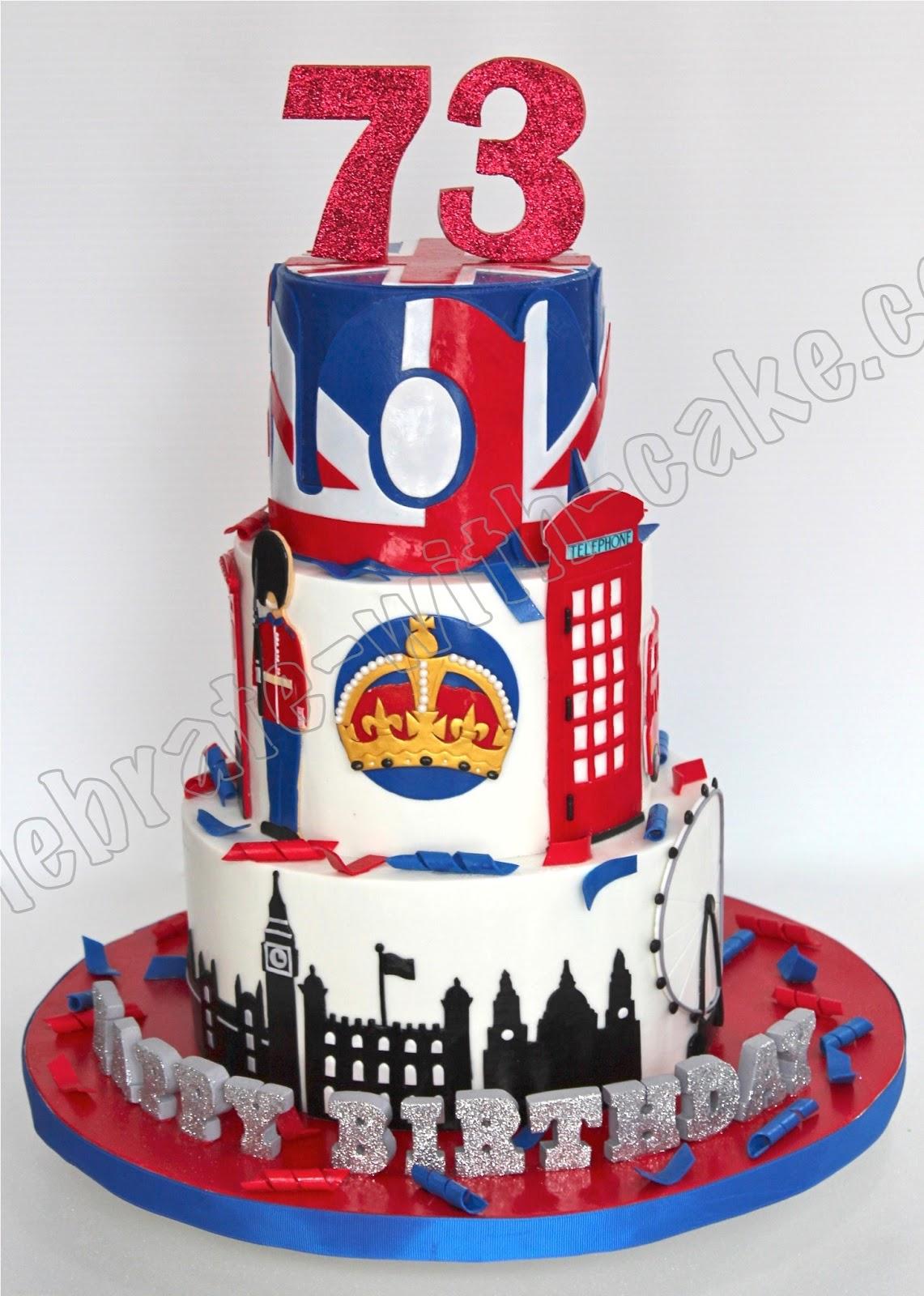 Union Jack London Themed Tier Cake