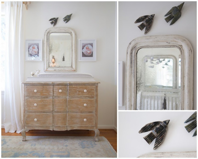 Changing table with birds; Baby nursery; Nursery in the Nest; Nora's Nest