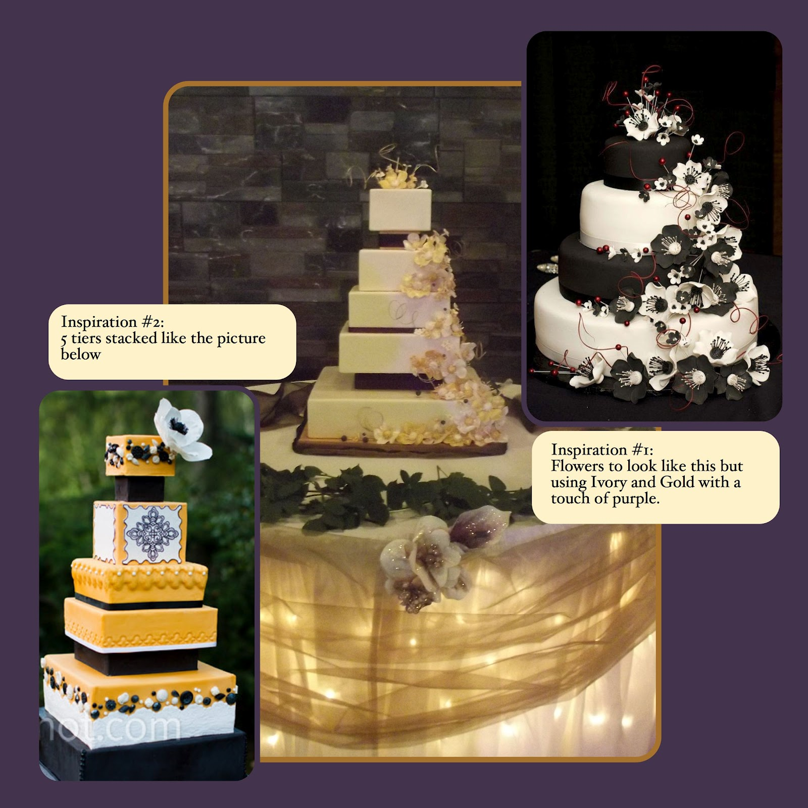 Le Mie Cose Favorites Allisons Wedding Cake 5 Tier Gold Ivory