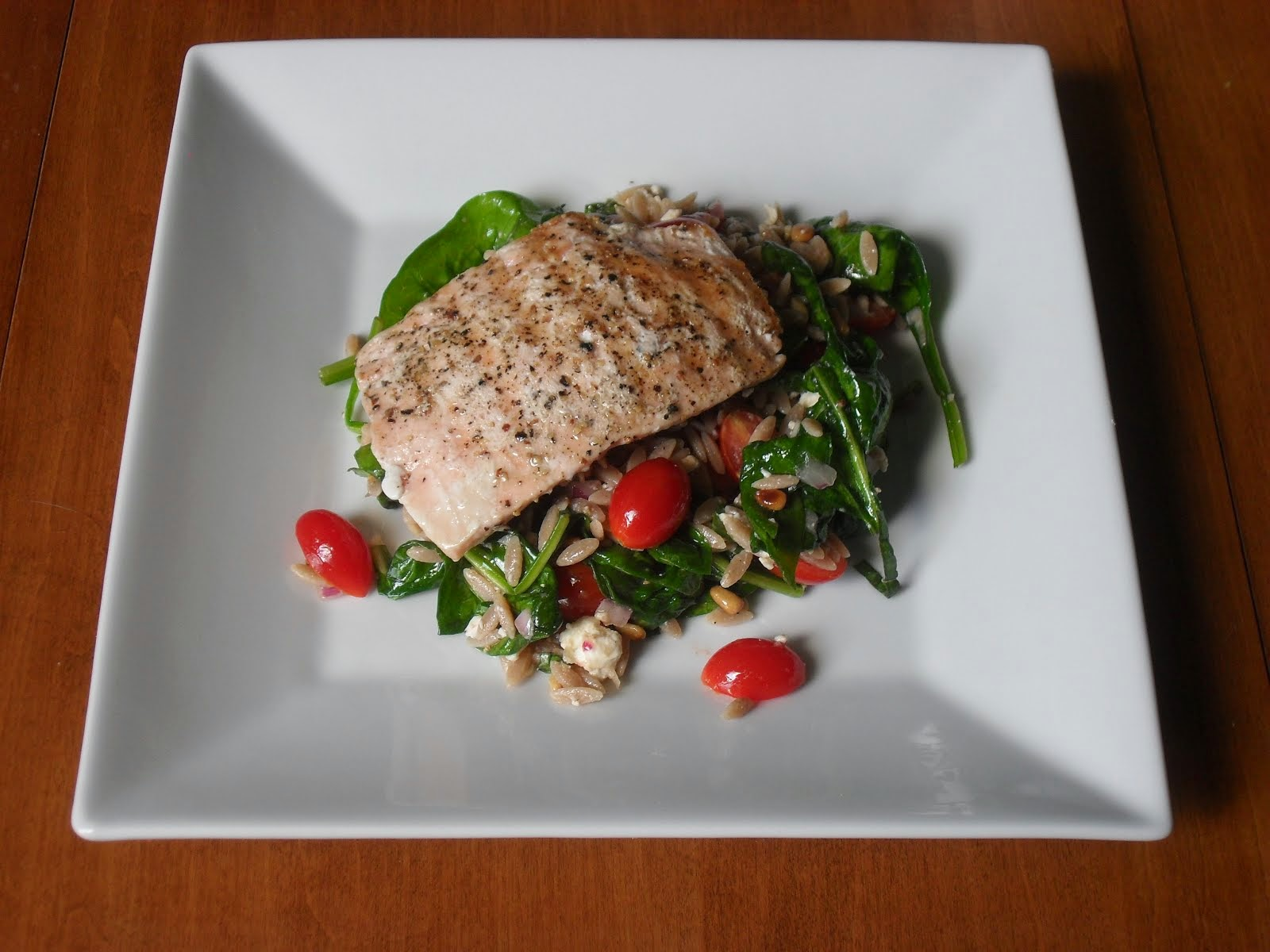 Grilled Salmon with Oroz, Feta, and Red Wine Vinaigrette