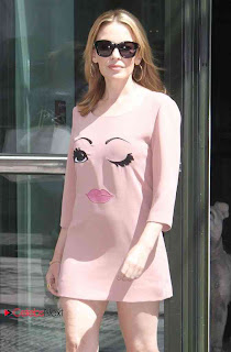 Kylie Minogue Leggy Pictures in Pink Short Dress Out in NY