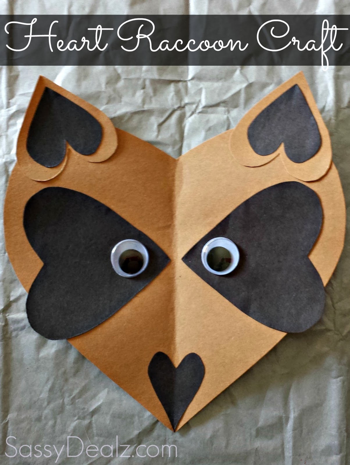 raccoon heart valentine craft