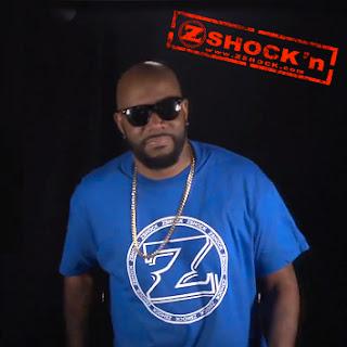Ed Lover wearing ZShock Icon logo t-shirt