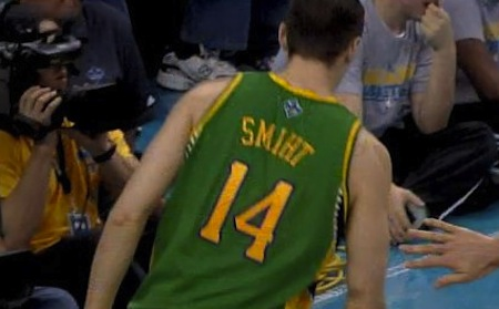 Jason Smith New Orleans Hornets misspelled jersey