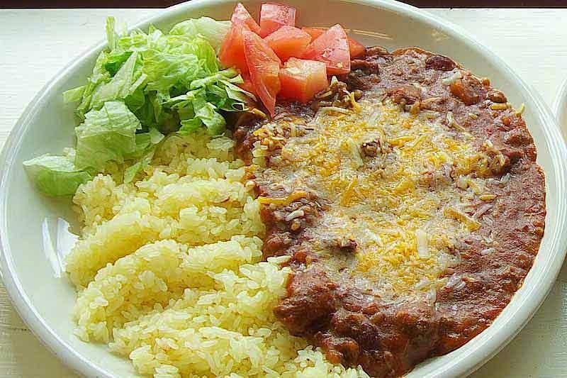 burrito rice,salad,plate