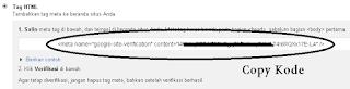 Verifikasi Situs dengan meta verify code di google webmaster tools