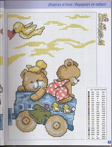 Creando ricamando schema trenino orsi for Punto croce trenino