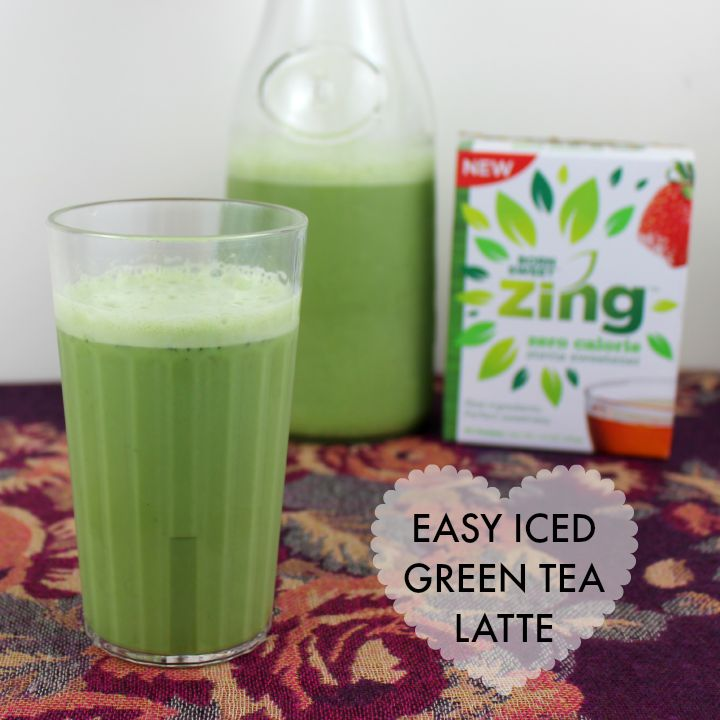 An easy DIY iced green tea latte blender recipe