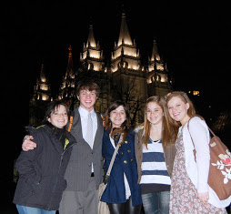 Haley in the middle with her siblings at the Salt Lake City Temple