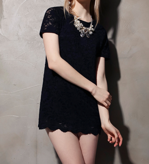 Scallop Hem Lace Shift Dress