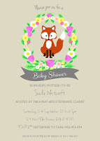 fox floral flowers baby fox birthday invitation baby shower invite