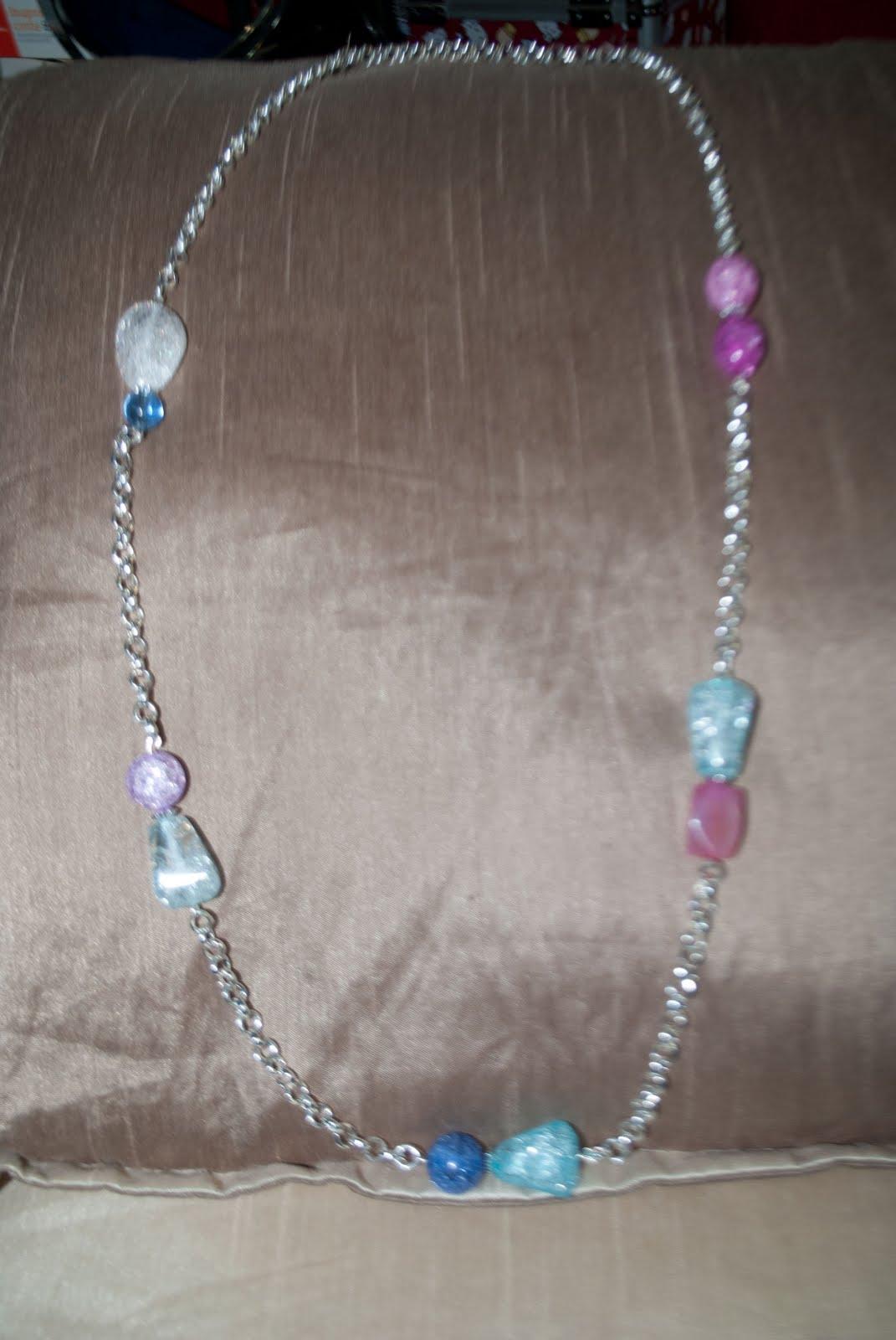 Collar largo con cadena plateada, cristal azul y rosa ref. CL 203 .. 8 \u20ac