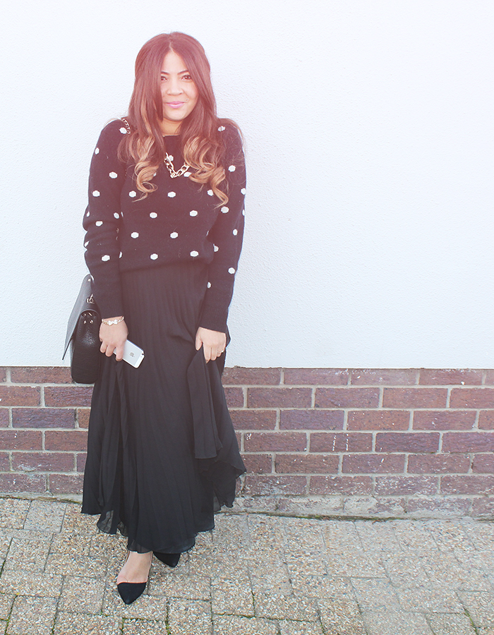 country road polka dot knit, pleated maxi skirt, ombre hair, zara bag, ootd