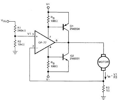 Simple Operational Amplifier DC Motor Driver   Circuit learning