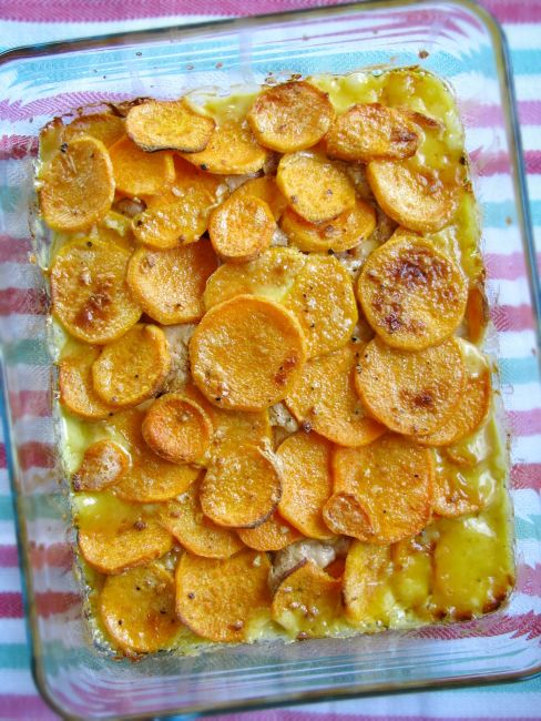 Sweet potato and peanut gratin