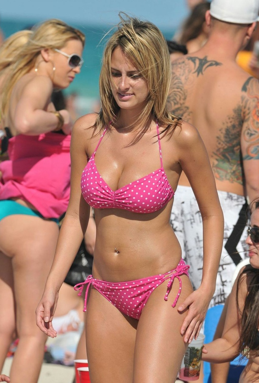 Amateur beach bikini close up
