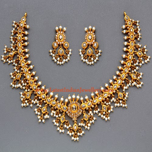 New Necklace Earring Set Gold Polki Jewellery Indian: Traditional Gutta Pusalu Necklace Set