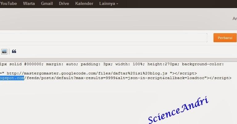 Cara mudah membuat daftar isi blog | ScienceAndri