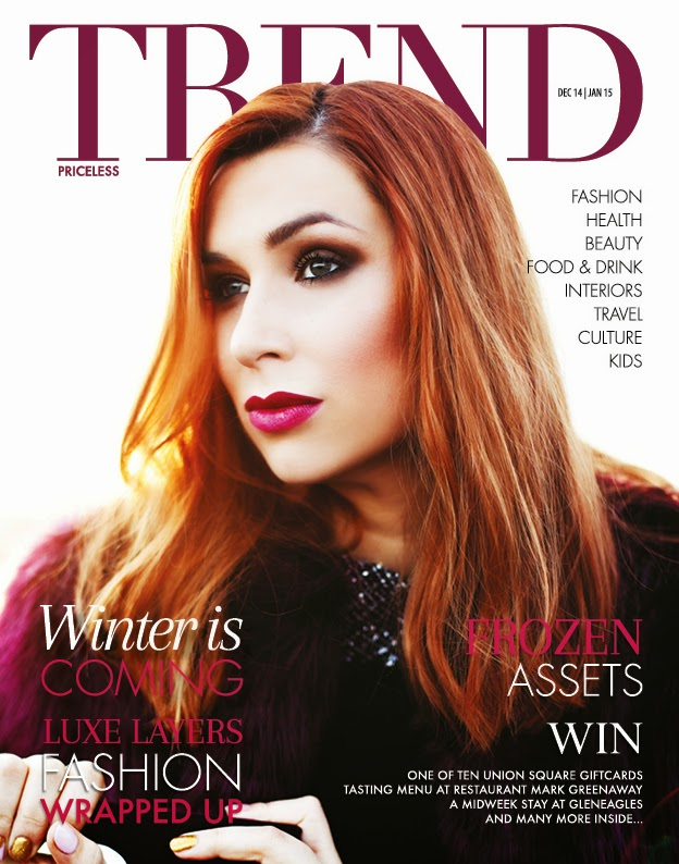 front cover for a winter themed fashion shoot for trend magazine