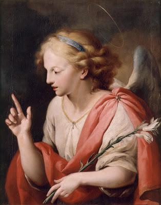 En la imagen San Gabriel Arcangel con la azucena en el brazo izquierdo