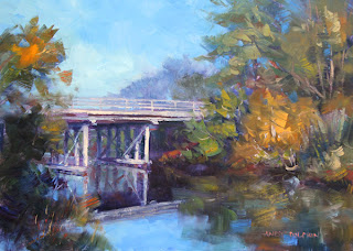 oil painting of bridge over river by andy dolphin