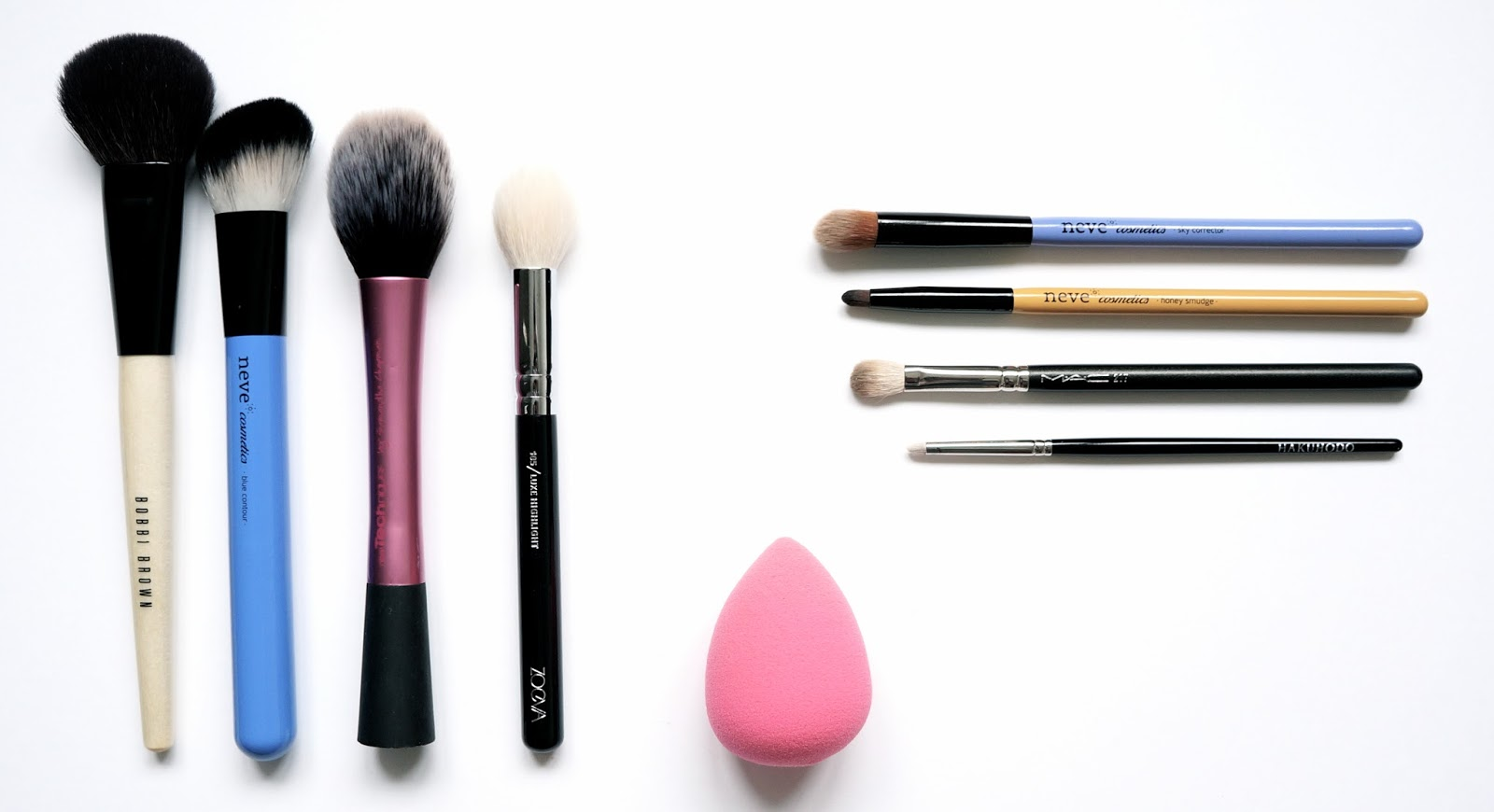Mes Pinceaux maquillages Makeup Brushes Beauty Blender Real Techniques Zoeva Neve Cosmetics MAC Bobbi Brown Hahukodo Lexie Blush