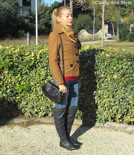 Camel Jacket, Leopard Printed Foulard, Overknees, Jeans - Lilli Candy and Style Fashion Blog
