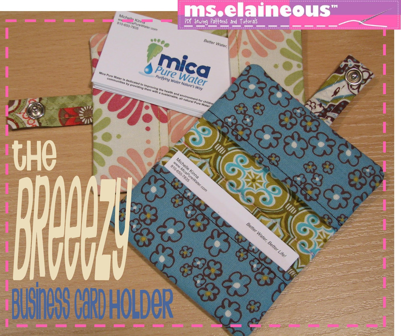 ms elaineous teaches sewing the breezy business card holder