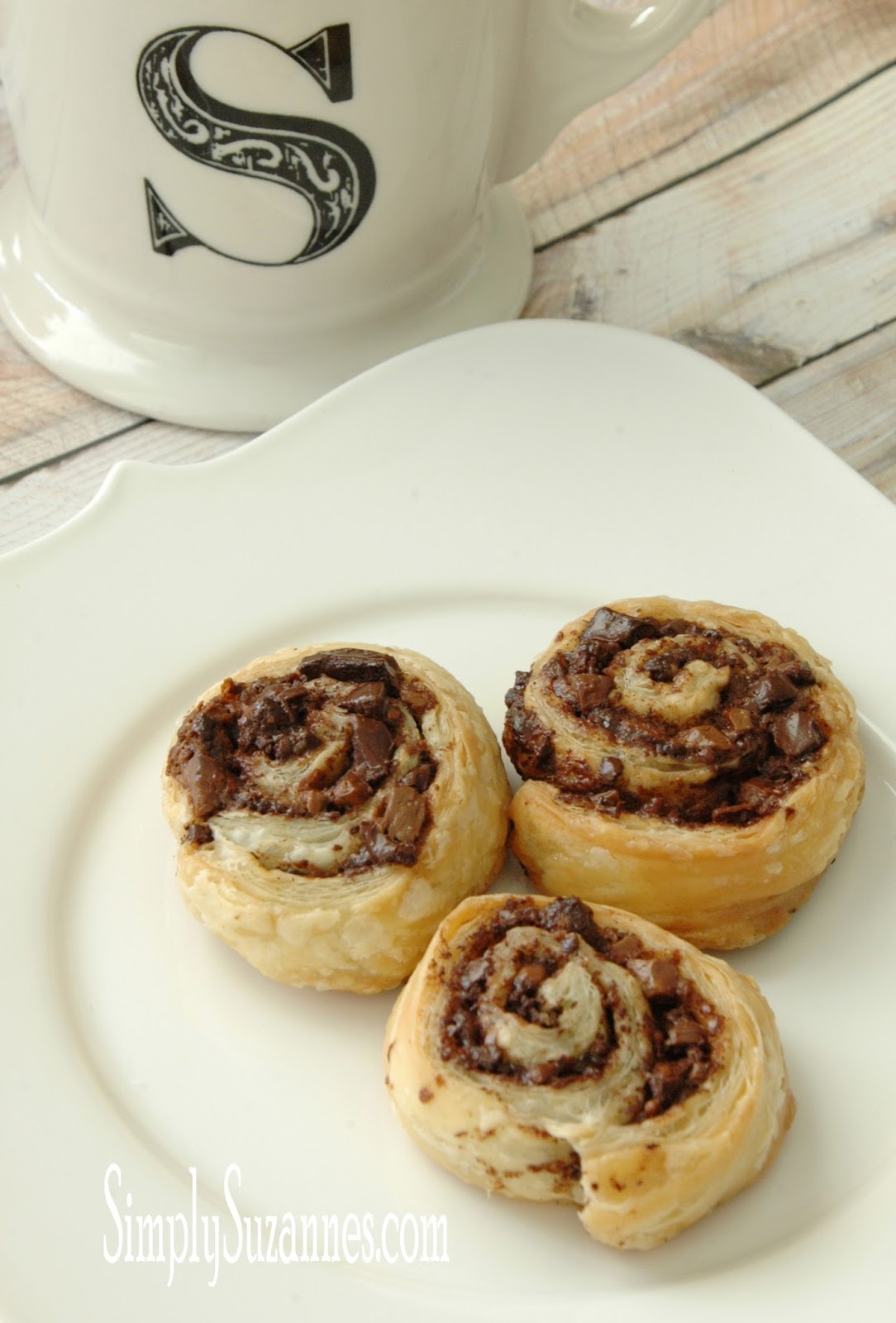 simply suzanne 39 s at home chocolate puff pastry pinwheels. Black Bedroom Furniture Sets. Home Design Ideas