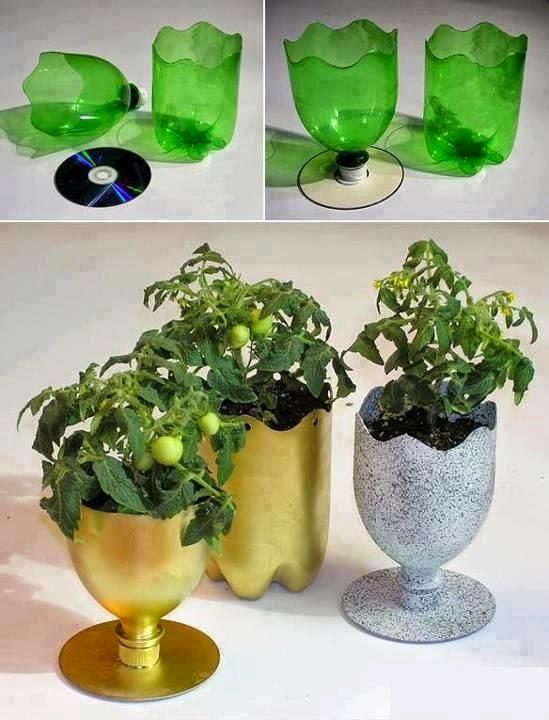 ¡Nos gustan las buenas ideas! Una maceta hecha a partir de una botella y CD reciclados
