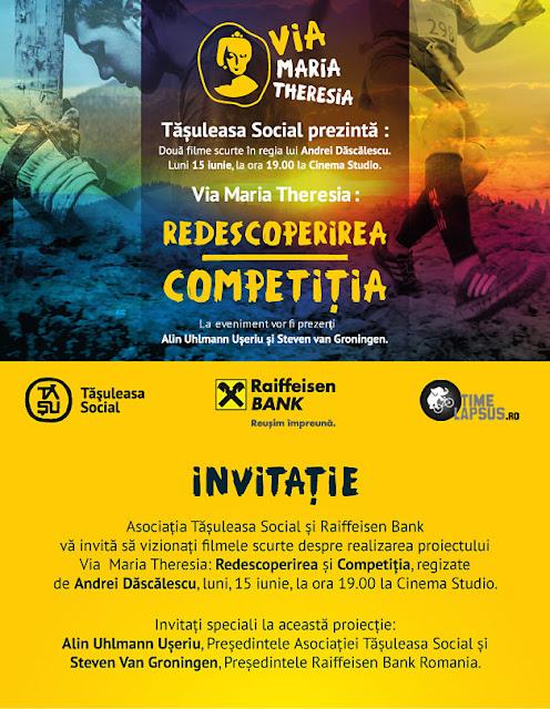 Tășuleasa Social prezintă Via Maria Theresia. Redescoperirea și Competiția, două filme scurte în regia lui Andrei Dăscălescu, luni, 15 iunie, la ora 19 la Cinema Studio din București. Afis