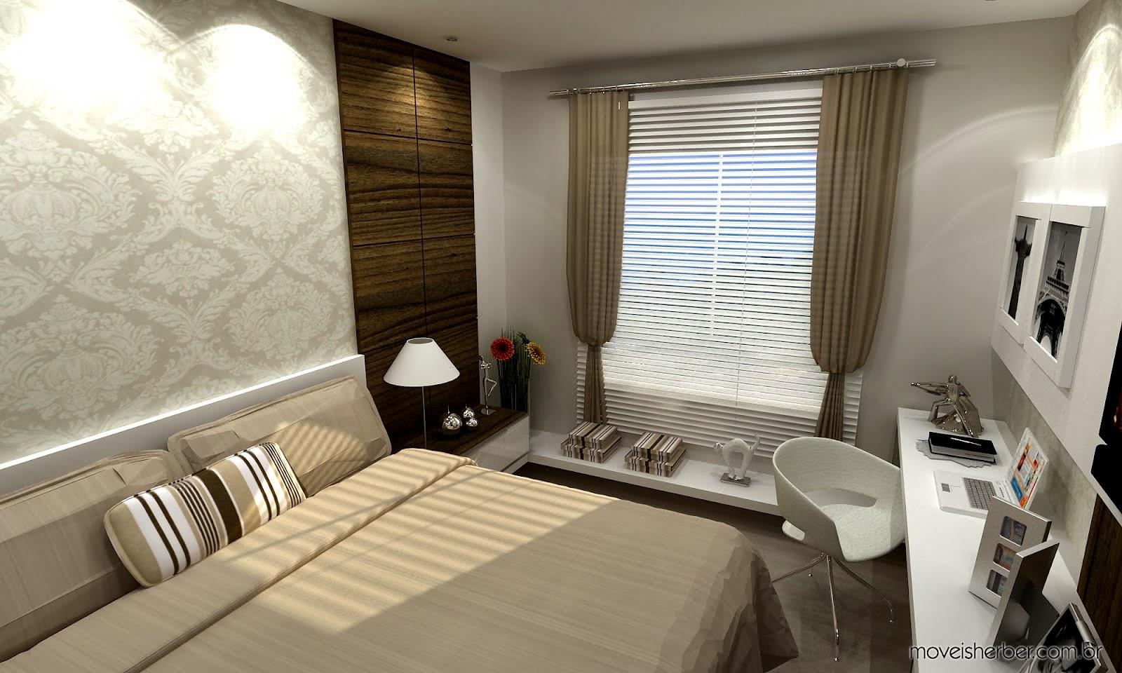 Home Office no Quarto de Casal Cantinho Organizado ~ Quarto Planejado Com Home Office