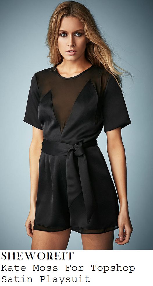 jade-thirlwall-black-satin-silk-sheer-chiffon-mesh-panel-plunge-front-short-sleeve-playsuit