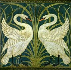 Swan Rush and Iris by Walter Crane - Victoria Richman Writing