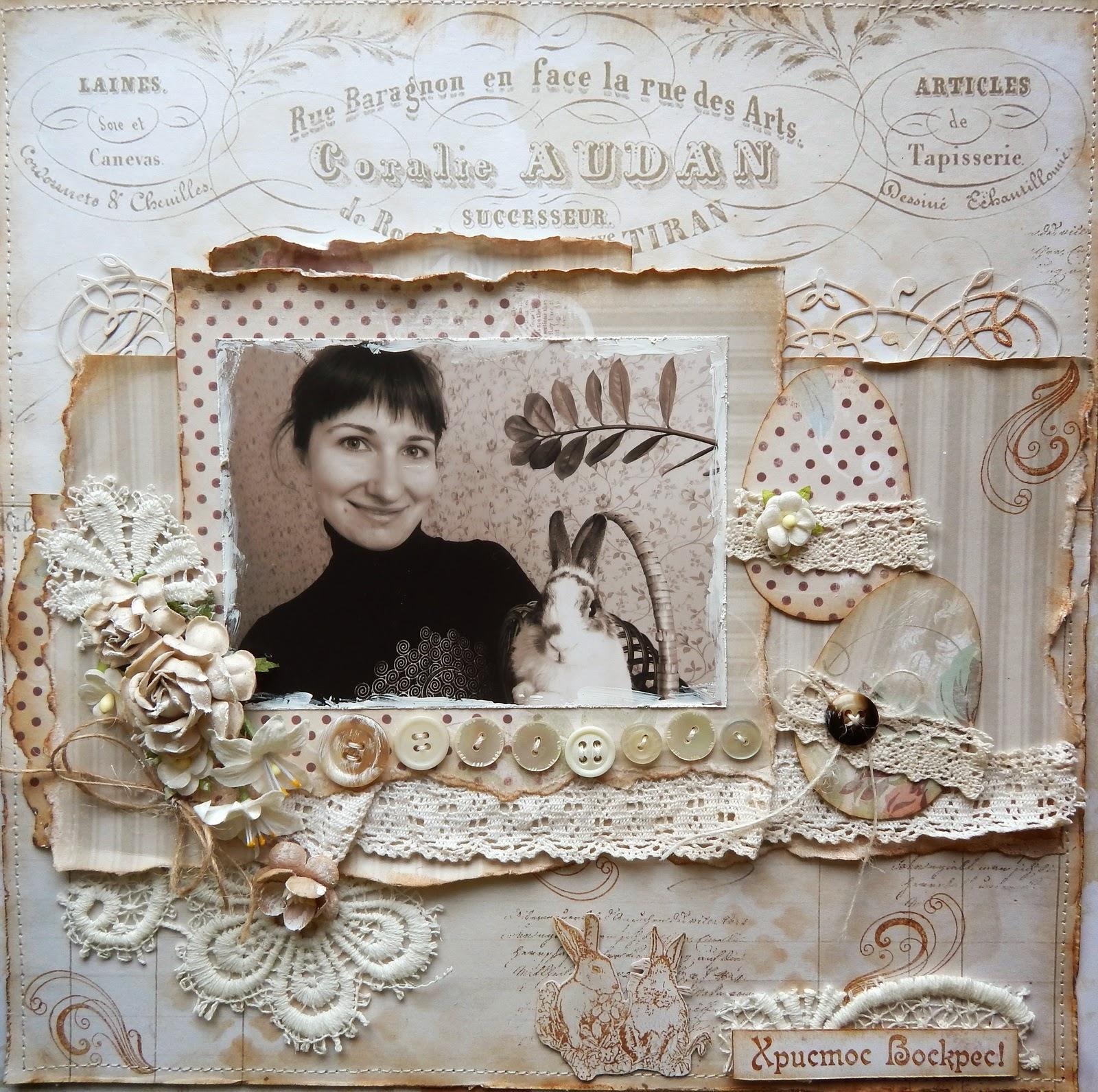 пасхальный кролик, винтаж, пасха,страничка в альбом