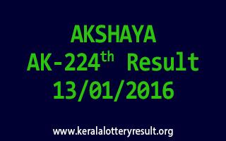 AKSHAYA AK 224 Lottery Result 13-01-2016