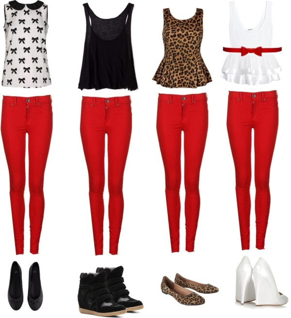 Pontiac with Fashion OUTFIT IDEAS RED SKINNY JEANS