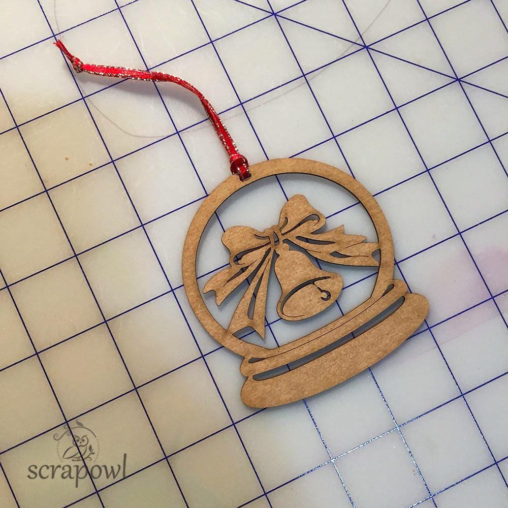 Unique Laser Designs Snow Globe Bell Chipboard Die Cut