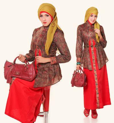 9 model baju gamis variasi batik terbaru Model baju gamis batik variasi