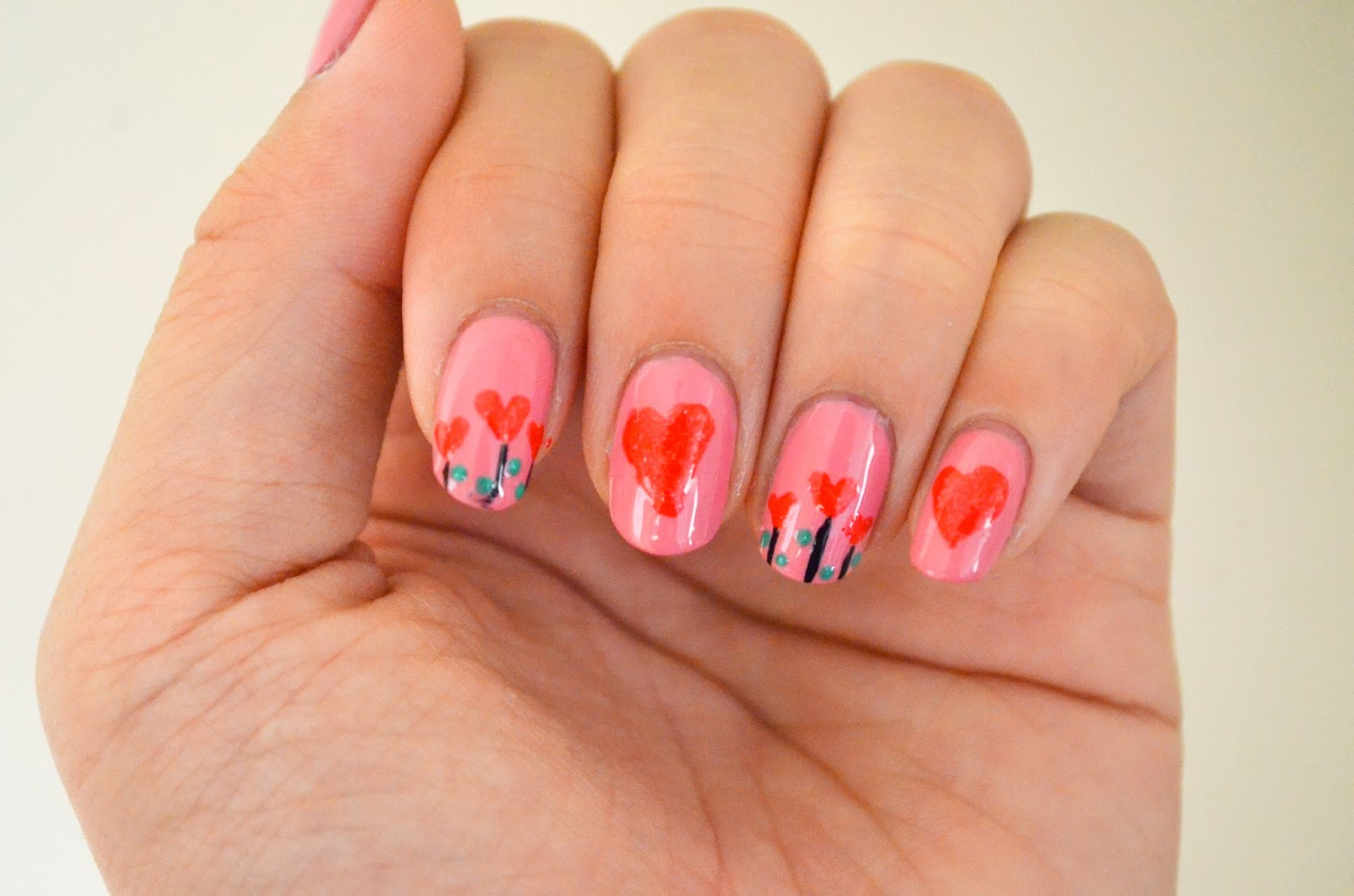 nail art hearts plant flower pink red love