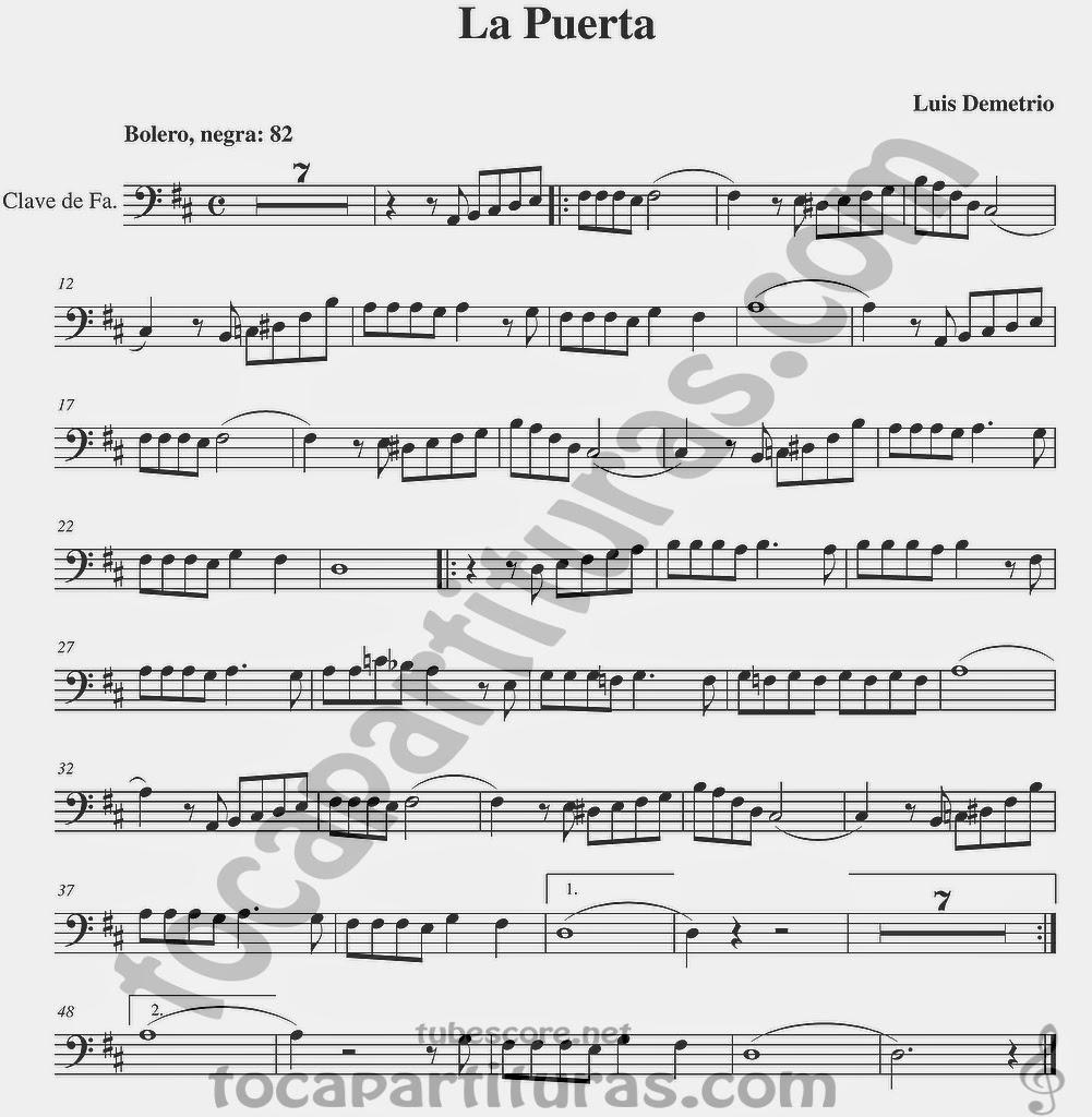 La Puerta Partituras en Clave de Fa en 4º Línea Partitura para Trombón, Chelo, Fagot, Bombaridno, Tuba y otros instrumentos  Sheet Music in Bass Clef for Trombone, Chelo, Bassoon, Tube, Euphonium...