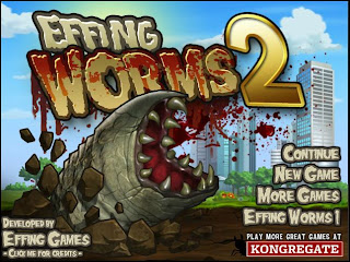 Main menu for Effing Worms 2