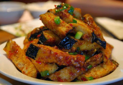 Spicy and deep fried eggplant sticks