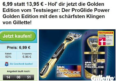 Groupon: Gillette Fusion ProGlide Power Golden Edition für 6,99 Euro statt 13,95 Euro