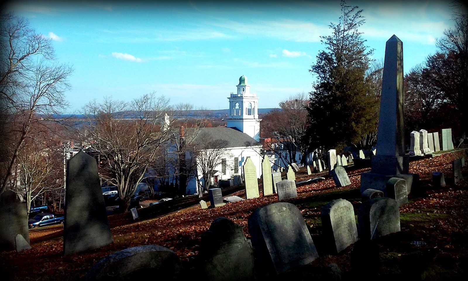 cemetery, old burial hill, plymouth, headstones, shadows, church, ocean view