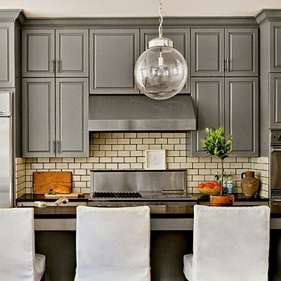 Kitchen cabinets painted with Benjamin Moore Chelsea Gray.