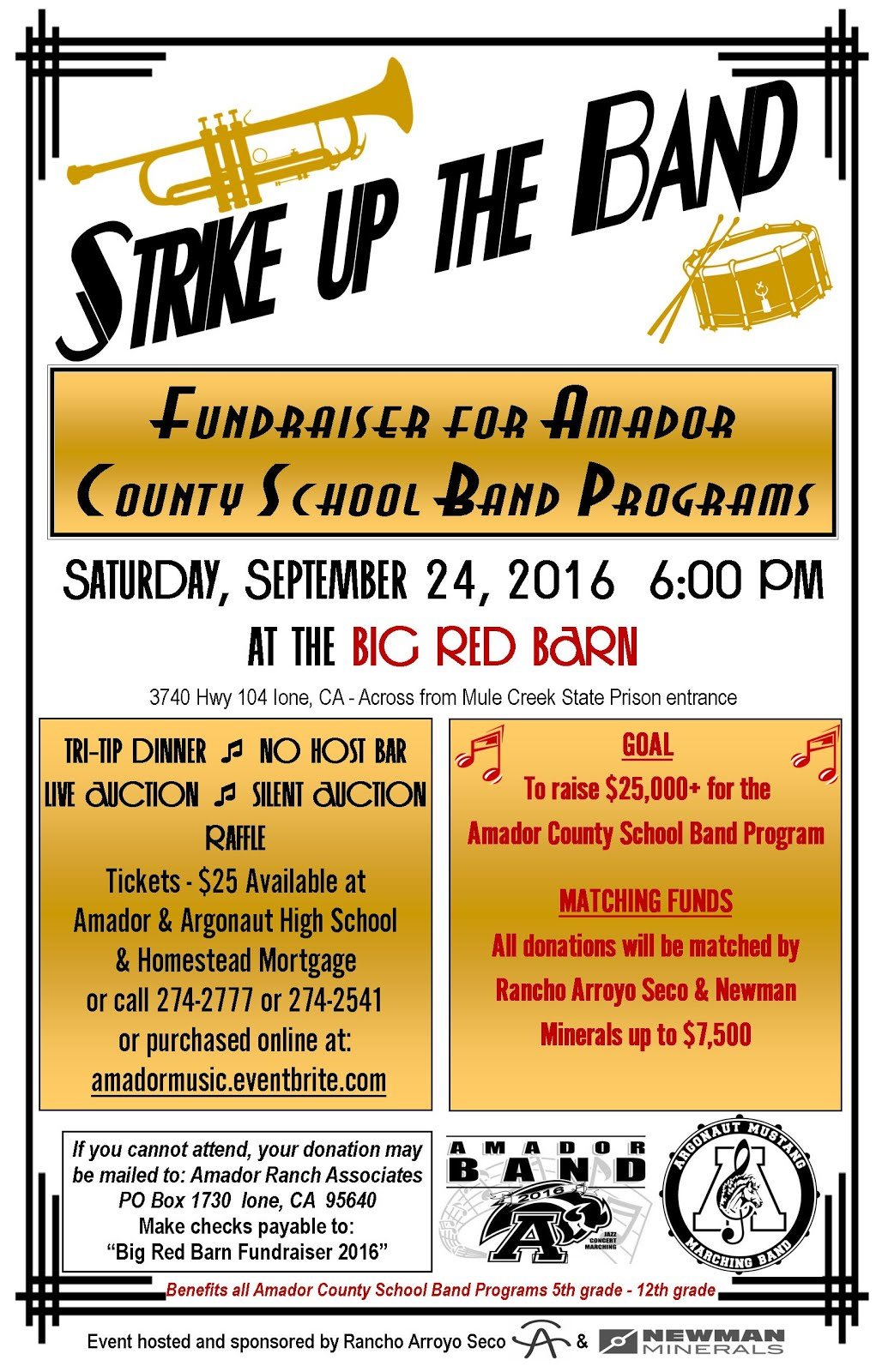 """Strike Up The Band"" Big Red Barn Fundraiser - Sat Sept 24"