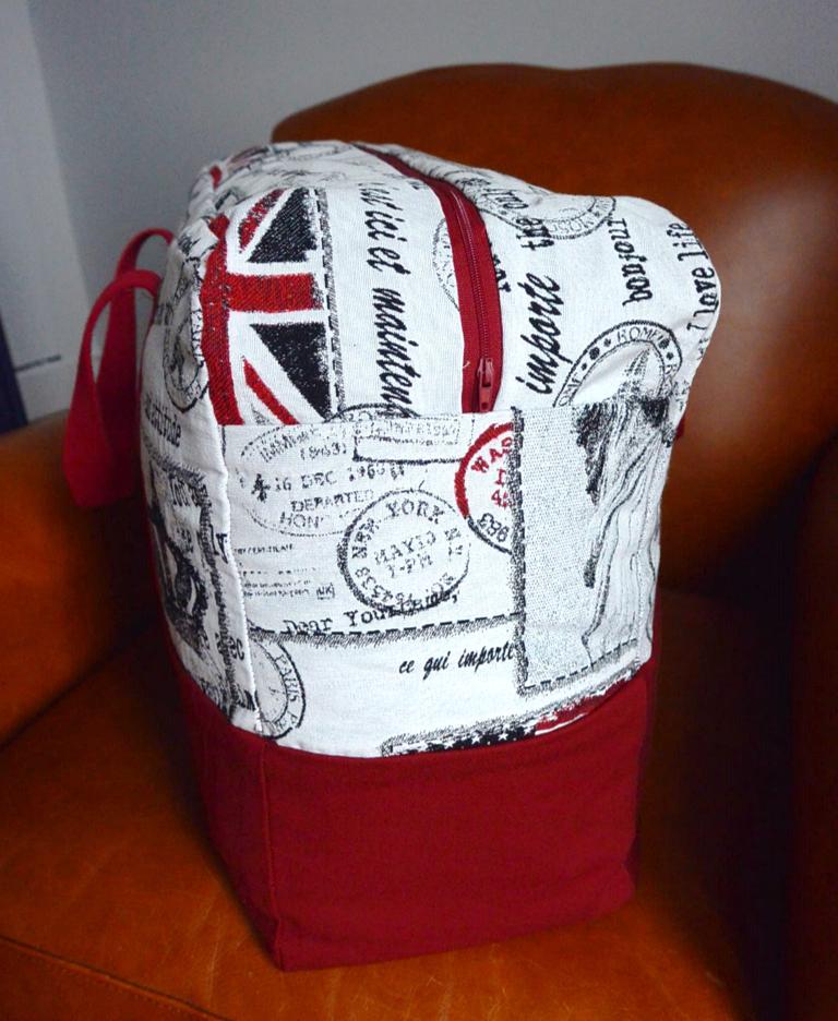 Sac de voyage USA UK rouge zip et anse