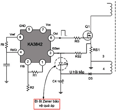 Hình 19 - Mạch bảo vệ quá áp sử dụng đi ốt Zener mắc ngược từ điện áp hồi tiếp về chân ISSEN